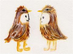 うずら2羽のイラスト